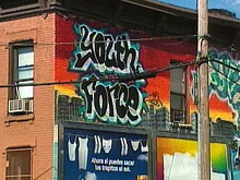This graffitti painted-building in New York's south Bronx is home to Youth Court two days a week.