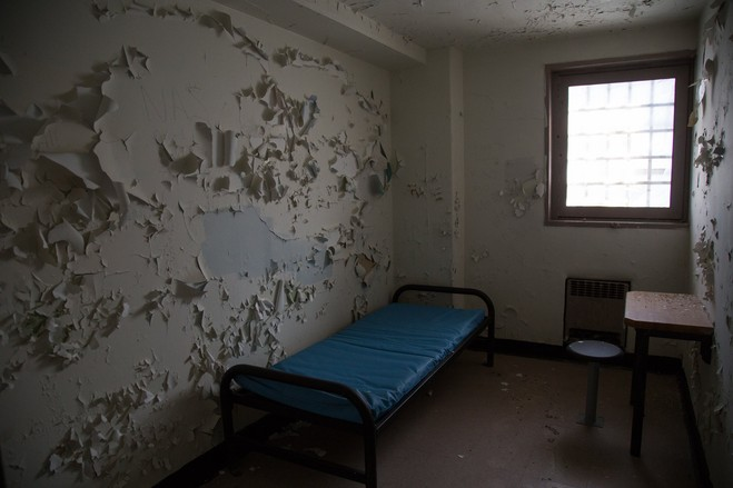 A cell at the old Spofford Juvenile Detention Center, which was built in 1957 in the Hunts Point section of the Bronx, eventually renamed Bridges Juvenile Center and closed in 2011. New York City plans to develop the site for new project with affordable housing. ANDREW LAMBERSON FOR THE WALL STREET JOURNAL
