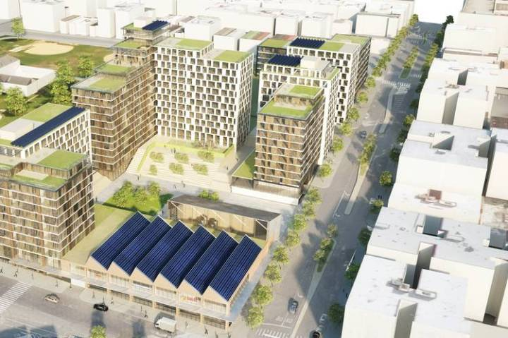 A rendering of the Peninsula, which proposes 740 units of affordable housing, 49,000 square feet of light industrial space and more. PHOTO: WXY ARCHITECTURE+ URBAN DESIGN