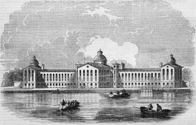 Wood engraving of the House of Refuge, 1854. The facility, located on Randall's Island, was the the first juvenile reformatory in the United States. (Wikimedia Commons)